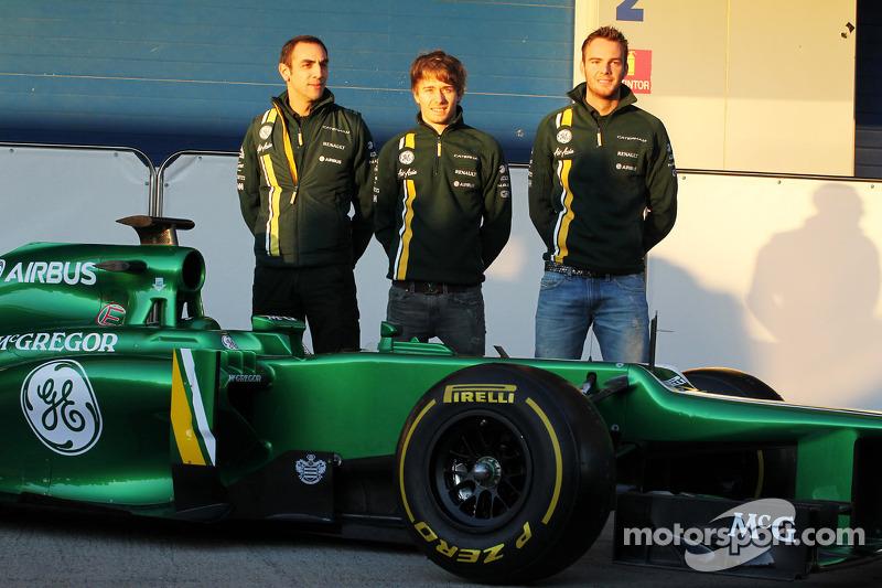 Cyril Abiteboul, Teambaas Caterham F1 met Charles Pic, Caterham en Giedo van der Garde, Caterham F1