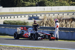 Jenson Button, McLaren MP4-28 stops on the circuit