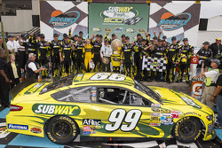 Victory lane: race winner Carl Edwards, Roush Fenway Racing Ford celebrates
