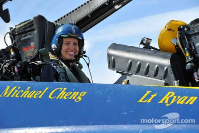 Courtney Force flies with Blue Angels