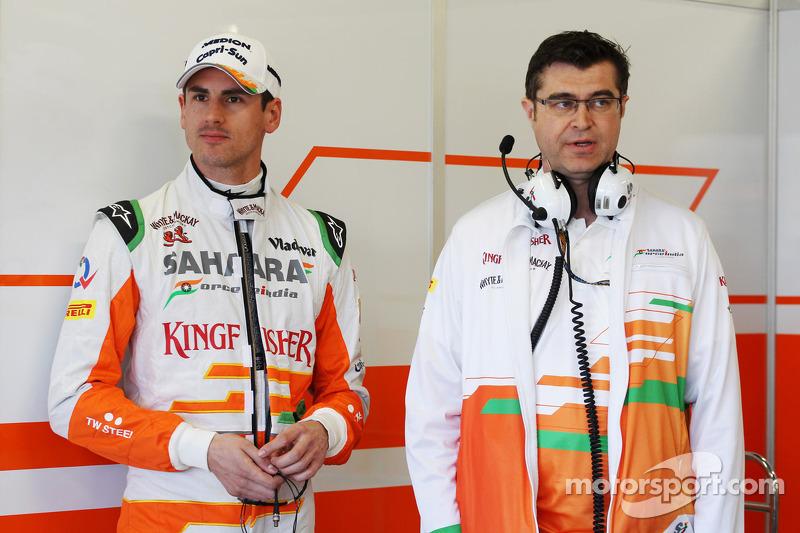 Adrian Sutil, Sahara Force India F1 met Bradley Joyce, Sahara Force India F1 Race Engineer