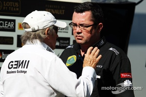 (L to R): Jackie Stewart, with Eric Boullier, Lotus F1 Team Principal
