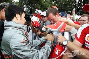 Sergio Perez, McLaren signs autographs for the fans