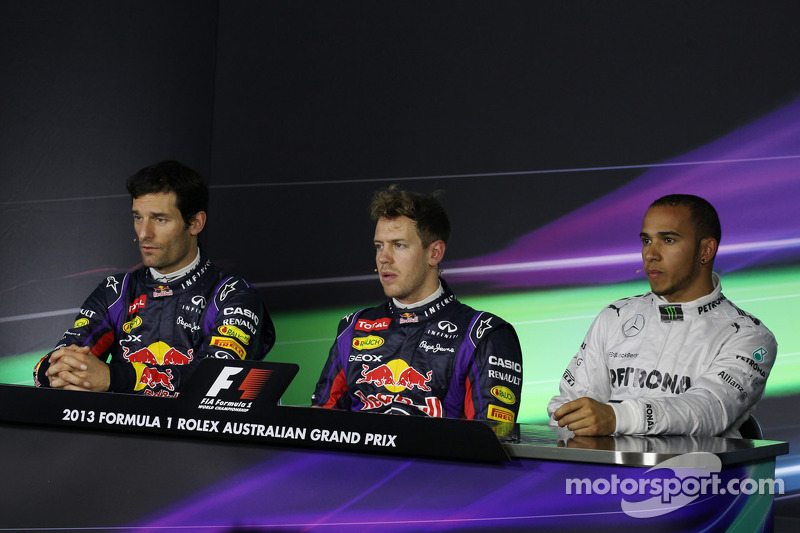 The top three qualifiers in the FIA Press Conference, Red Bull Racing, second; Sebastian Vettel, Red Bull Racing, pole position; Lewis Hamilton, Mercedes AMG F1, third