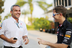 Beat Zehnder, Sauber F1 Team Manager with Sebastian Vettel, Red Bull Racing