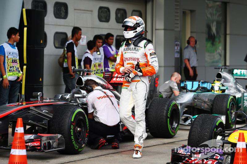 Adrian Sutil, Sahara Force India F1 in parc ferme