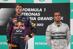 Podium: race winner Sebastian Vettel, Red Bull Racing, third place Lewis Hamilton, Mercedes AMG F1