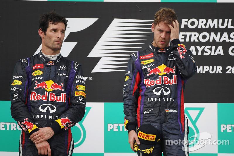Podio: ganador de la carrera Sebastian Vettel, Red Bull Racing. Mark Webber, Red Bull Racing el segu