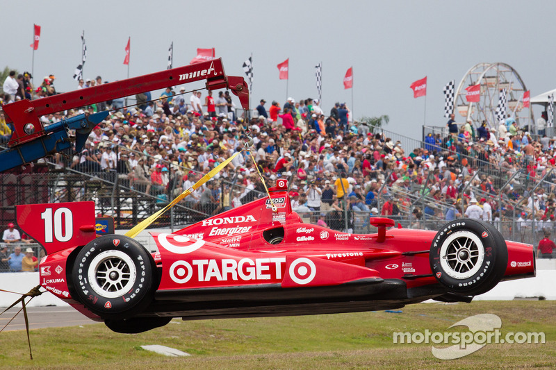 Damaged car of Dario Franchitti, Target Chip Ganassi Racing Honda