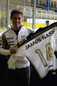 James Nash, Bamboo Engineering holds a hockey jersey