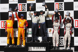 Victory lane: GX winners Jim Norman and Spencer Pumpelly, second place Joel Miller and Tristan Nunez, third place Sylvain Tremblay and Tom Long