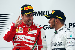 Race winner Fernando Alonso, Ferrari on the podium with third placed Lewis Hamilton, Mercedes AMG F1