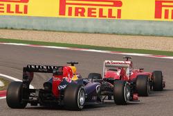 Felipe Massa, Ferrari F138 leads Sebastian Vettel, Red Bull Racing RB9