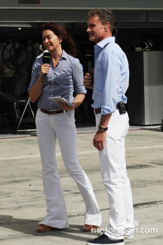 (L to R): Suzi Perry, BBC F1 Presenter with David Coulthard, Red Bull Racing and Scuderia Toro Advis
