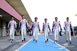 Toyota drivers Kazuki Nakajima, Alexander Wurz, Nicolas Lapierre, Anthony Davidson, Stéphane Sarrazin and Sebastien Buemi