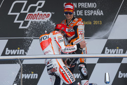 Podium: second place Marc Marquez, Repsol Honda Team, race winner Dani Pedrosa, Repsol Honda Team