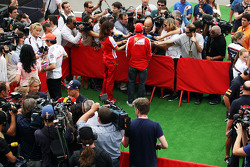 (L to R): Sergio Perez, McLaren; Sebastian Vettel, Red Bull Racing; Fernando Alonso, Ferrari in the media area