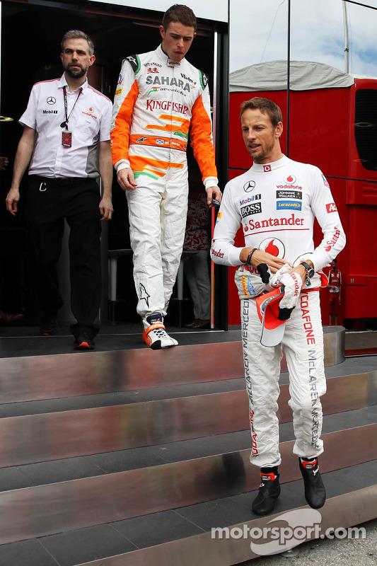 Jenson Button, McLaren e Paul di Resta, Sahara Force India F1