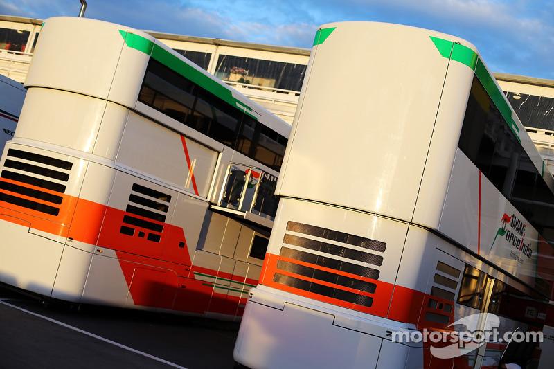 Sahara Force India F1 Team trucks in the paddock