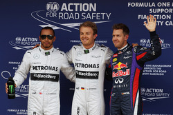 Qualifying top three in parc ferme, Mercedes AMG F1, second; Nico Rosberg, Mercedes AMG F1, pole position; Sebastian Vettel, Red Bull Racing, third