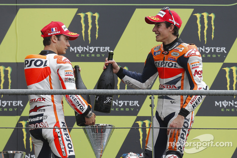 Podio: ganador de la carrera Dani Pedrosa, Repsol Honda Team y el tercer lugar Marc Marquez, Repsol Honda Team