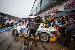 #22 Rowe Racing Mercedes-Benz SLS AMG GT3 pushed to the starting grid