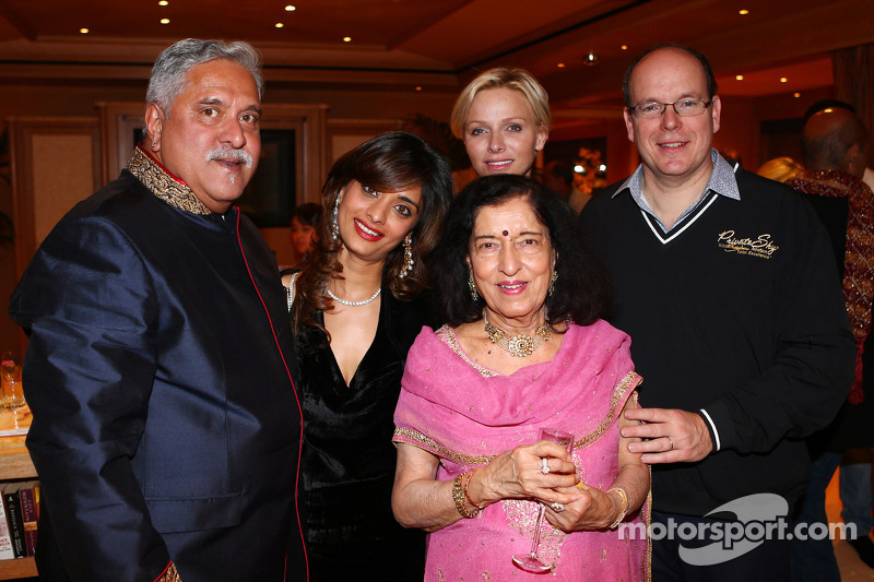 Dr. Vijay Mallya, Sahara Force India F1 Team Owner, with Princess Charlene of Monaco, and HSH Prince Albert of Monaco, at the Signature F1 Monaco Party