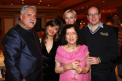 Dr. Vijay Mallya, Sahara Force India F1 Team Owner, with Princess Charlene of Monaco, and HSH Prince Albert of Monaco, at the Signature F1 Monaco Party
