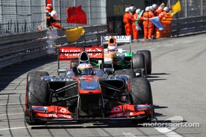 Jenson Button, McLaren MP4-28 celebrates at the end of the race