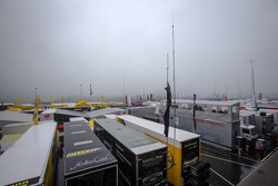 A heavy fog on the paddock