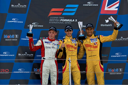 Podium from left: Willaim Buller, Antonio Giovinazzi and Sean Gelael