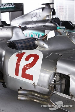 The Mercedes race cars of Sterling Moss and Lewis Hamilton