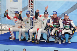 Winners Jari-Matti Latvala and Miikka Anttila, Volkswagen Polo WRC, Volkswagen Motorsport, second place, Daniel Sordo and Carlos del Barrio, Citroen DS3 WRC, Citroën Total Abu Dhabi World Rally Team, third place Thierry Neuville and Nicolas Gilsoul, Ford
