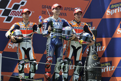 Race winner Jorge Lorenzo, Yamaha Factory Racing, second place Dani Pedrosa, Repsol Honda Team, third place Marc Marquez, Repsol Honda Team