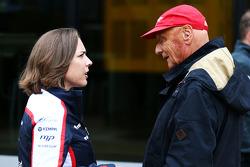 Claire Williams, Adjunct-teambaas Williams met Niki Lauda, Mercedes Non-Executive Chairman