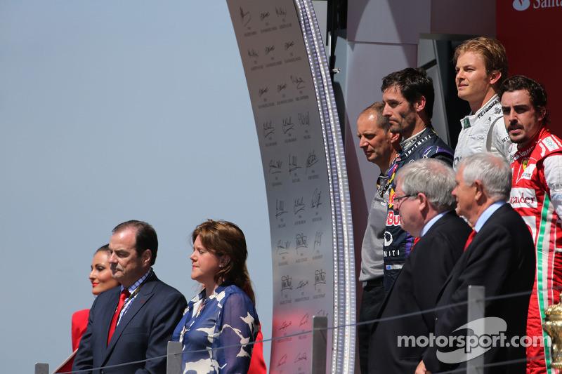 Nico Rosberg, Mercedes GP, Mark Webber, Red Bull Racing and Fernando Alonso, Scuderia Ferrari