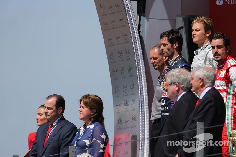 Nico Rosberg, Mercedes GP, Fernando Alonso, Scuderia Ferrari and Mark Webber, Red Bull Racing