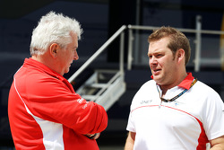 Pat Symonds, Marussia F1 Team Technical Consultant with Dave Greenwood, Marussia F1 Team Race Engineer