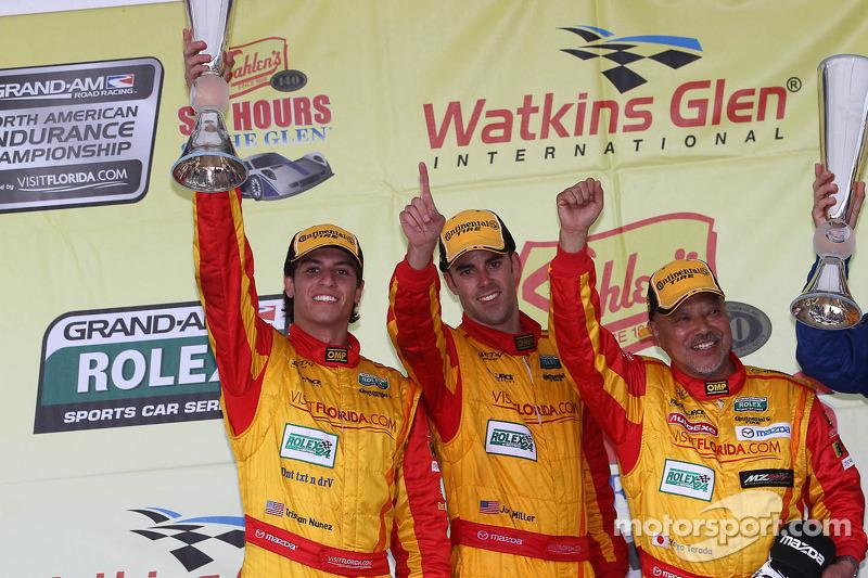 Podium GX: Joel Miller, Tristan Nunez, Yojiro Terada #00 Visit Florida Racing Speedsource Yellow Dragon Mazda6 GX