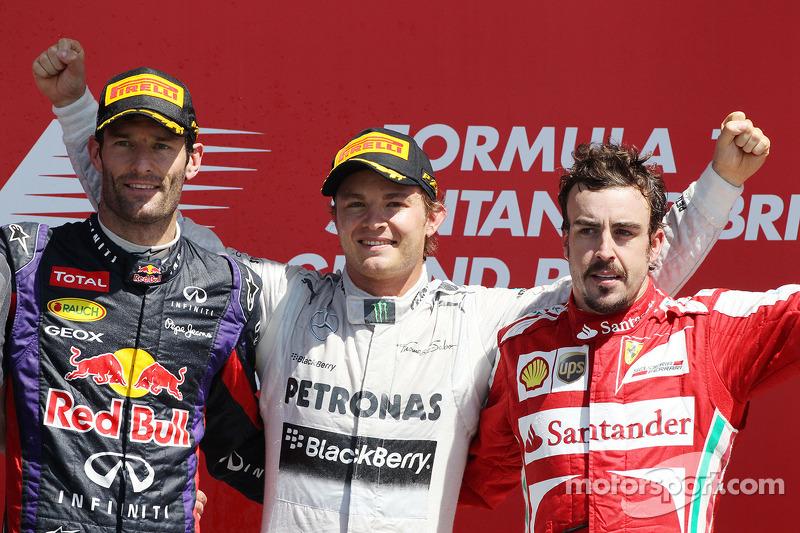 2013: 1. Nico Rosberg, 2. Mark Webber, 3. Fernando Alonso