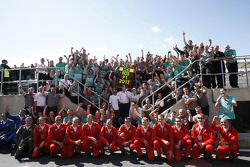 Race winner Nico Rosberg Mercedes AMG F1 celebrates with team mate Lewis Hamilton Mercedes AMG F1, Ross Brawn Mercedes AMG F1 TeamPrincipal, the Red Arrows pilots, and the team