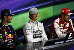 The FIA Press Conference Mark Webber Red Bull Racing, second; Nico Rosberg Mercedes AMG F1, race win