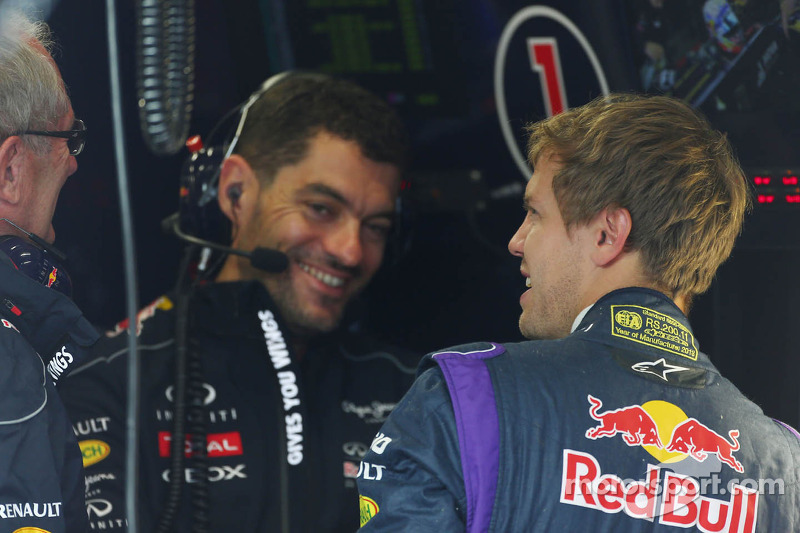 (L to R): Dr Helmut Marko, Red Bull Motorsport Consultant with Guillaume Rocquelin, Red Bull Racing