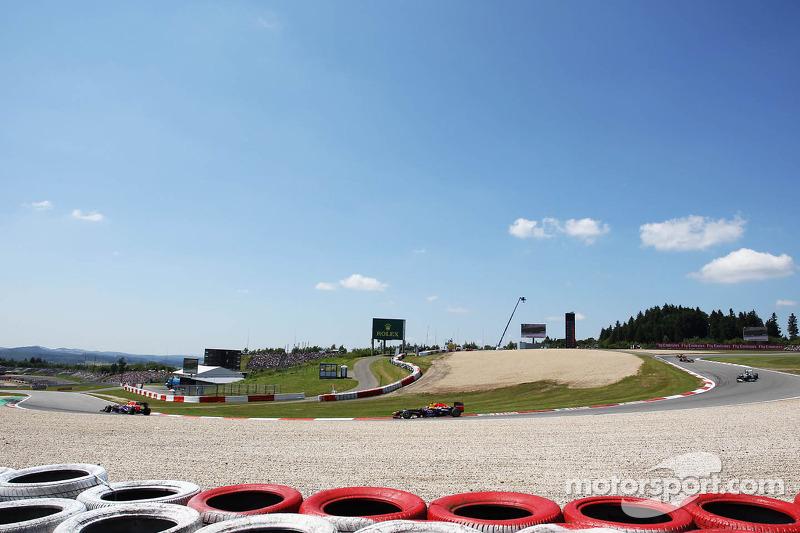Sebastian Vettel, Red Bull Racing RB9 leads team mate Mark Webber, Red Bull Racing RB9