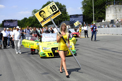 Grid girl of Mike Rockenfeller, Audi Sport Team Phoenix Racing Audi A5 DTM