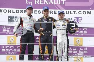 Podium: Second place Nigel Melker, winner Marco Sorensen and third place Kevin Magnussen