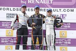 Podium: winner Marco Sorensen, second place Nigel Melker, third place Kevin Magnussen