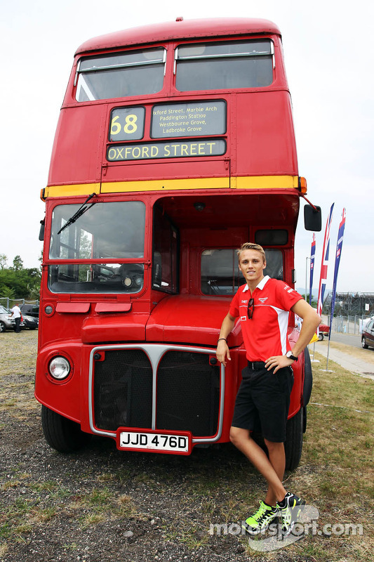 Max Chilton, Marussia F1 Team with a Routemaster Bus as part of a UK Trade and Investment initiative promoting British Business in Eastern Europe