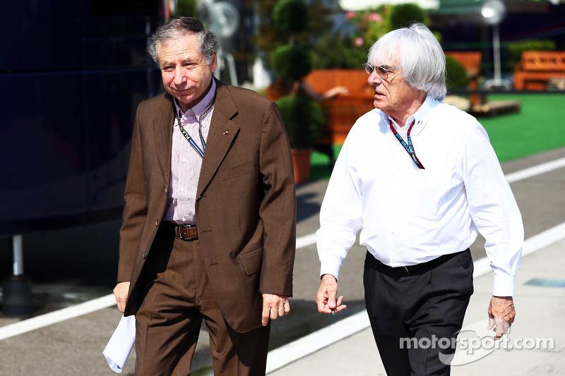 (L naar R): Jean Todt, FIA President met Bernie Ecclestone, CEO Formula One Group