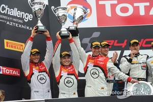 Overall podium: third place Frank Stippler, Christopher Mies, Andre Lotterer